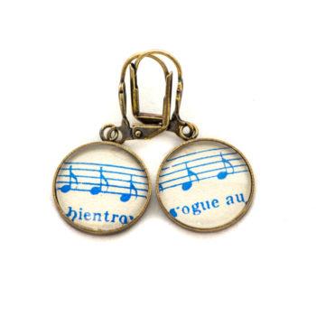 Boucles d'oreilles dorées Partitions Notes Bleues Bientôt Vogue