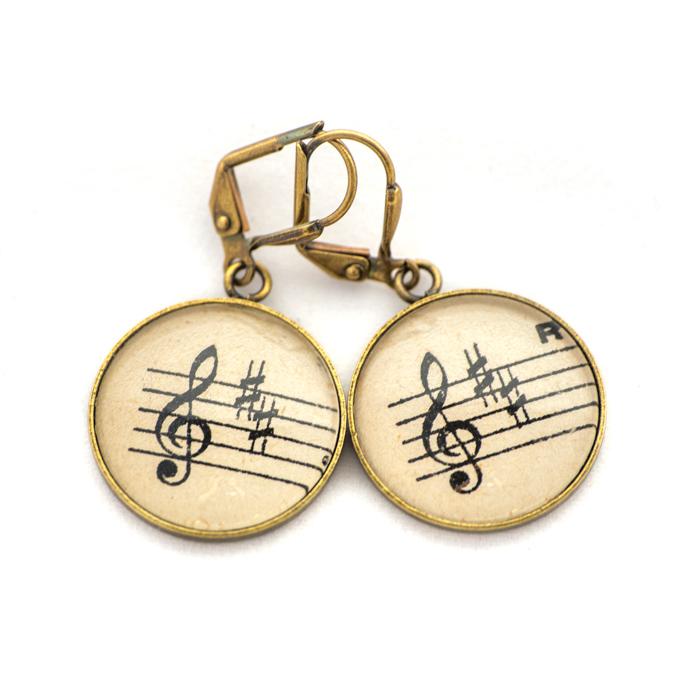 Golden music sheet studs earrings Black Clé