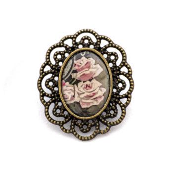 Broche carte postale vintage Roses Pâles