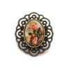 Broche Carte postale vintage Roses Sepia