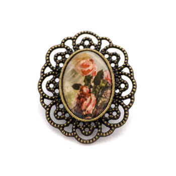 Broche carte postale vintage Roses Sepia