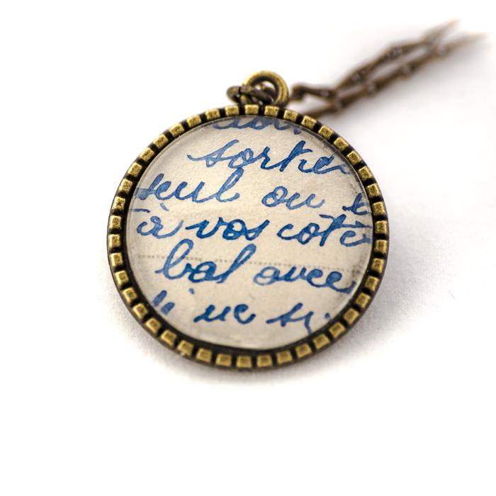 Vintage postcard necklace Blue Writing
