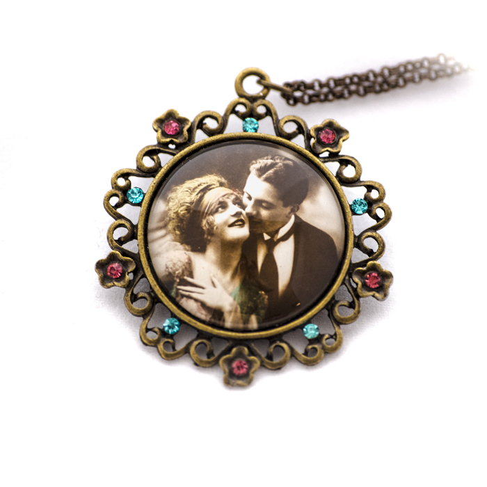 Vintage postcard rhinestones necklace Couple