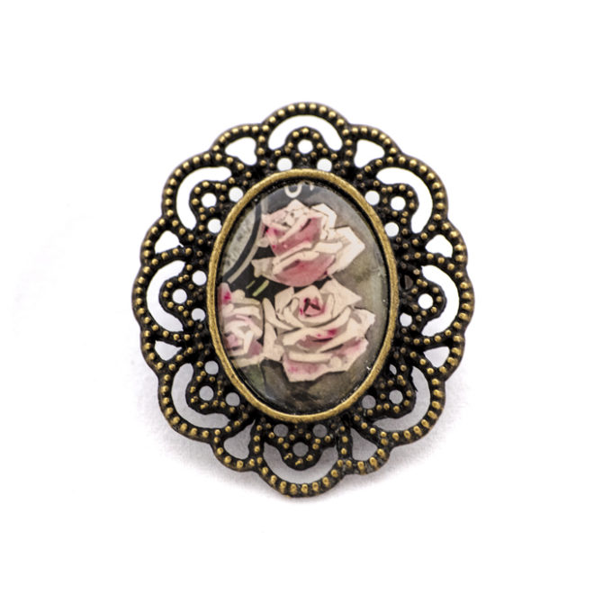 Broche carte postale ancienne roses pales