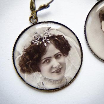Boucles couple marié carte postale