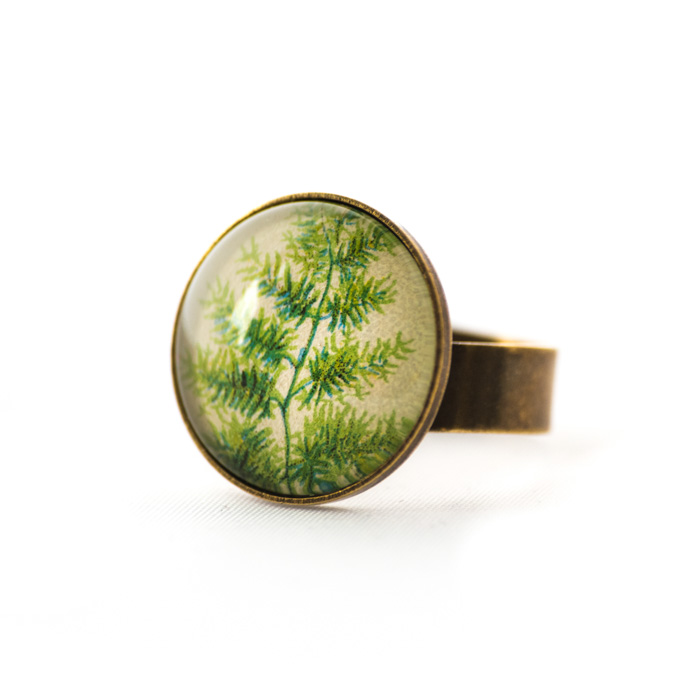 Vintage postcard ring Green Foliage