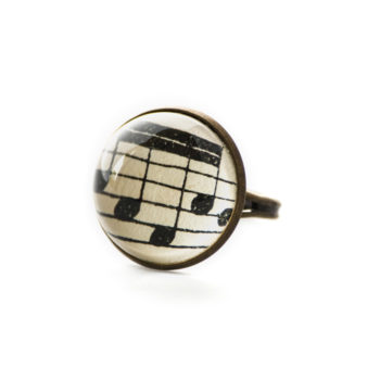 Bague Partitions Quatre Double Croches noir