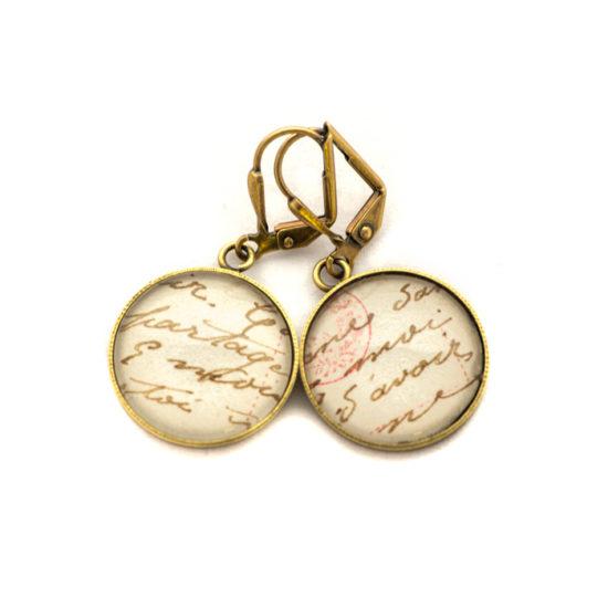 Boucles d'oreilles dorées carte postale Ecriture Marque de Tampon