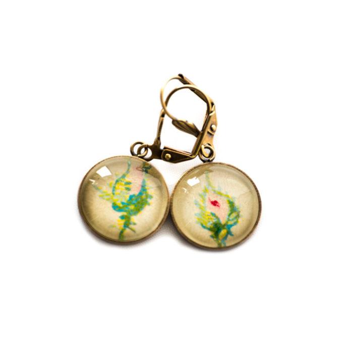 Boucles d'oreilles dorées carte postale Fleurs Bourgeons