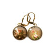 Boucles d'oreilles dorées carte postale Fleurs Sépia