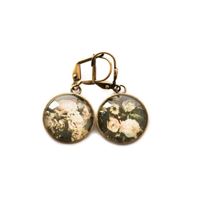 Boucles d'oreilles dorées carte postale Fleurs Vintage