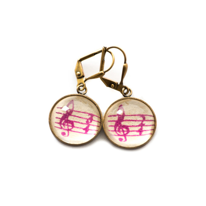 Boucles d'oreilles dorées Partitions Clé Sol 3/4 violet