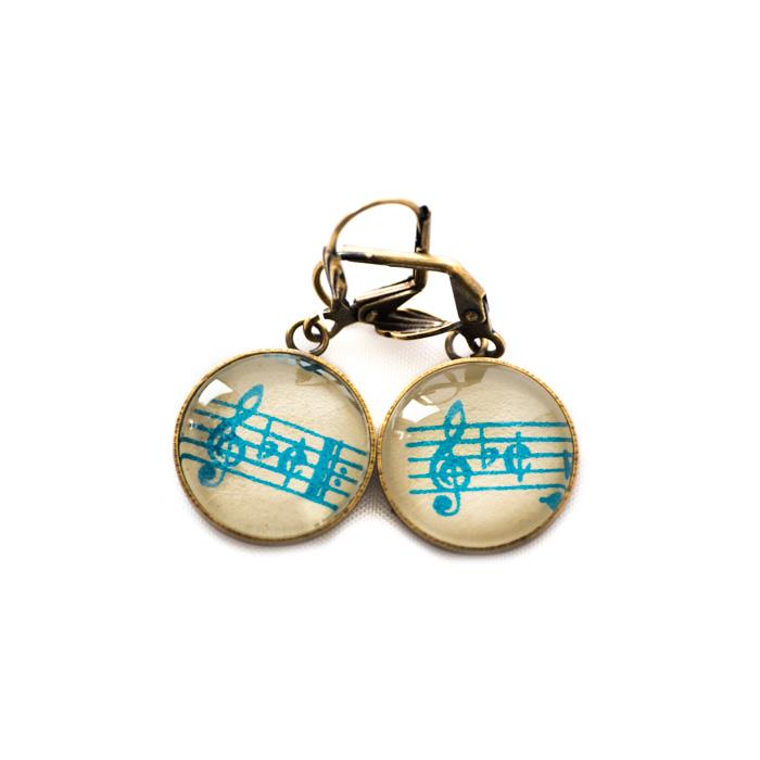 Boucles d'oreilles dorées Partitions Clés Sol Bémol 2/2 turquoise