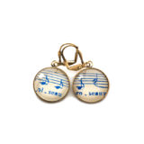 Boucles d'oreilles dorées Partitions Notes bleues Oiseau