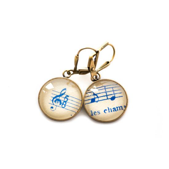 Boucles d'oreilles dorées Partitions Notes Clé Sol bleues Champs