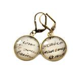 Boucles d'oreilles dorées carte postale Ecriture Ancienne