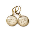 Boucles d'oreilles dorées carte postale Ecriture Vintage