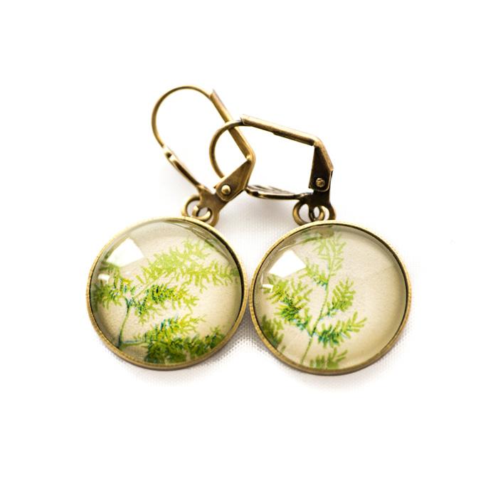 Golden postcard studs earrings Green Foliage