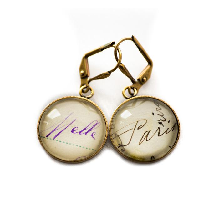 Boucles d'oreilles dorées carte postale Mlle Paris