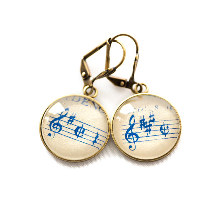 Golden music sheet studs earrings Blue Clés Sol Dièse
