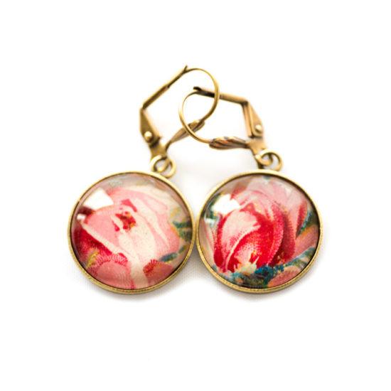 Boucles d'oreilles dorées carte postale Roses du Jardin