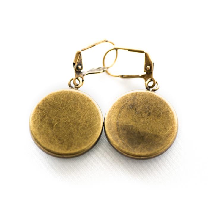 Boucles d'oreilles dorées Partitions Clés de Sol Bémol noir