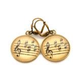 Boucles d'oreilles dorées Partitions Clé noire sépia