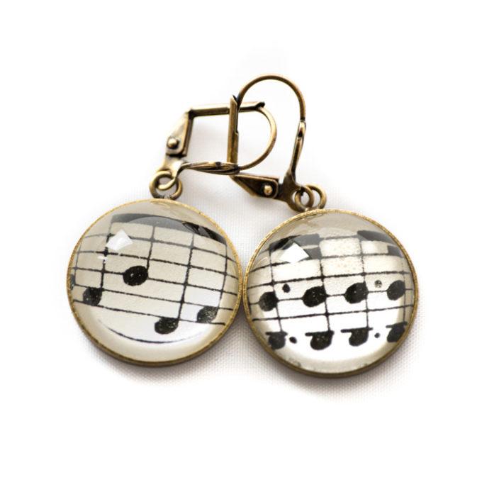 Boucles d'oreilles dorée Partitions Notes Musique noires