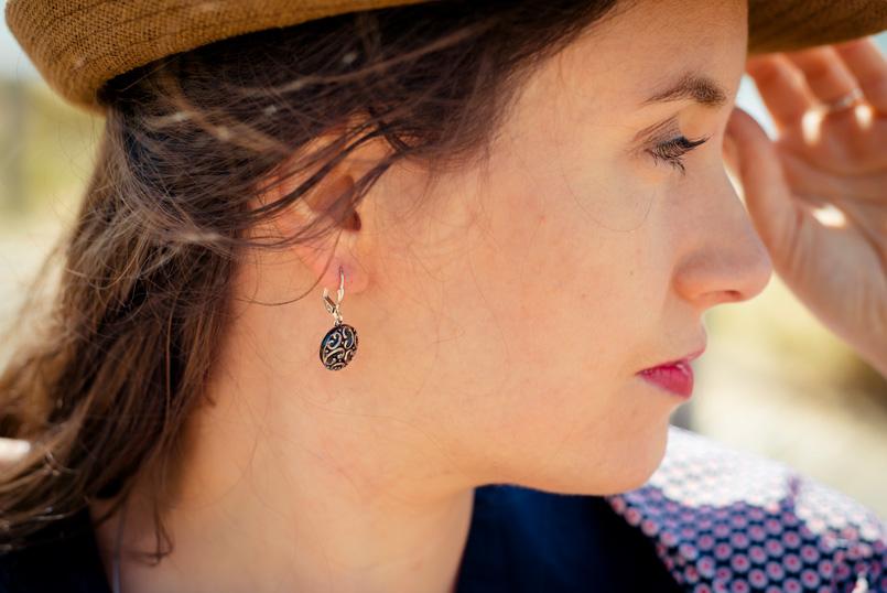 Boucles d'oreilles dormeuses Thelma argentées look