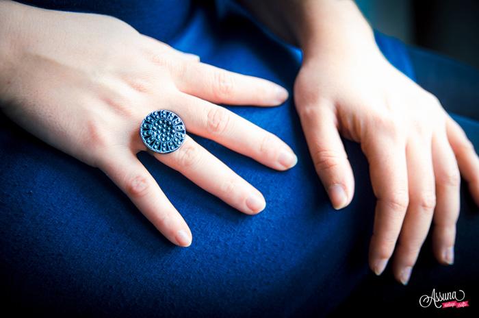 Assuna 2014/2015 – Bague bouton ancien Gisèle bleue