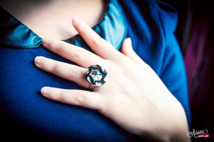 Assuna 2014/2015 – Bague bouton ancien Marcelle argentée