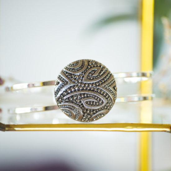 Bracelet bouton ancien manchette Garance argent