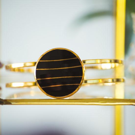 Bracelet bouton ancien manchette Louise doré