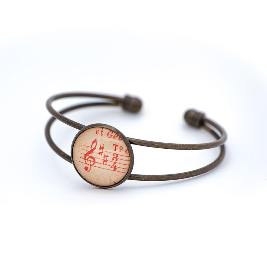 Bracelet partition musique clé rouge