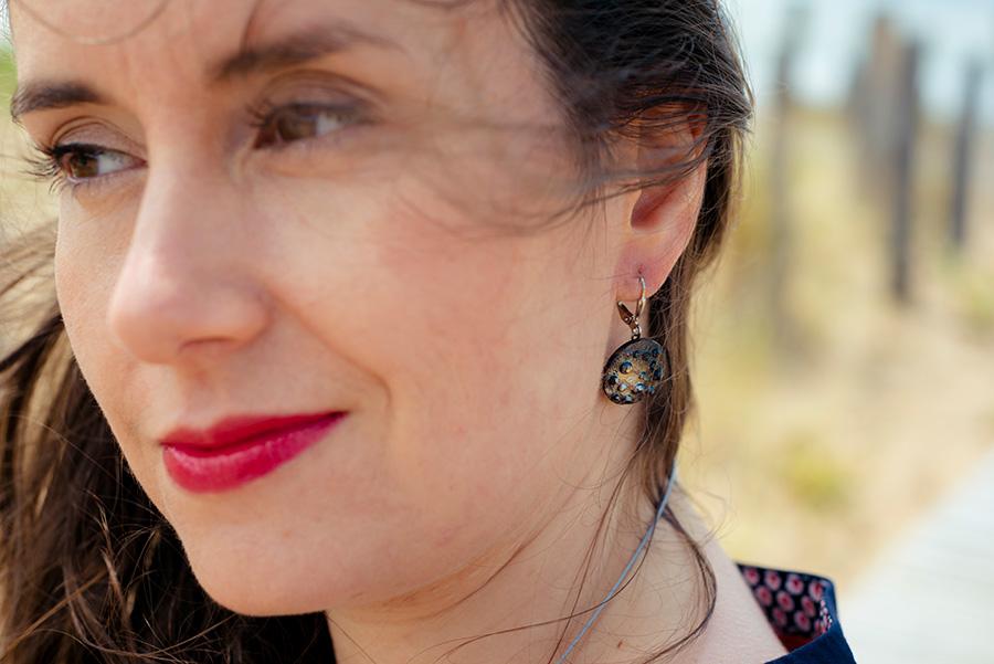 Assuna – Boucles d'oreilles grandes dormeuses Lucienne argent look porté