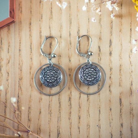Assuna - Boucles d'oreilles petites dormeuses cercles Aglaé inspiration vintage