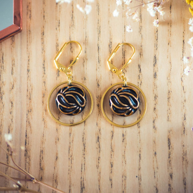 Assuna - Boucles d'oreilles petites dormeuses cercles Andrée inspiration vintage