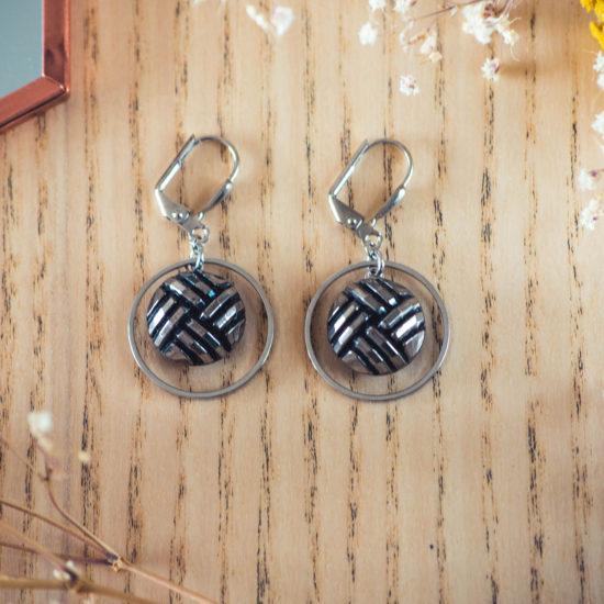 Assuna - Boucles d'oreilles petites dormeuses cercles Henriette argent inspiration vintage