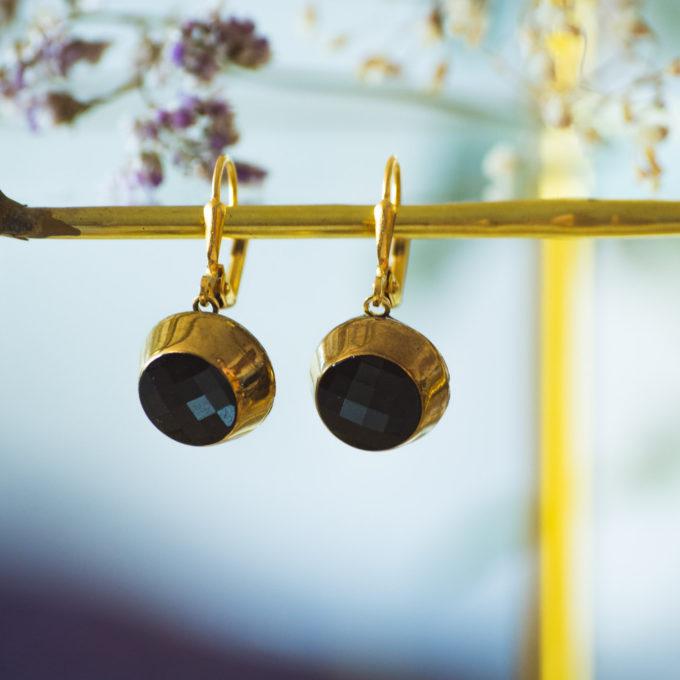 Boucles d'oreilles dormeuses bouton ancien Liliane or inspiration vintage