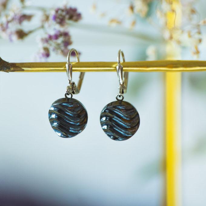 Boucles d'oreilles dormeuses bouton ancien Simone inspiration vintage