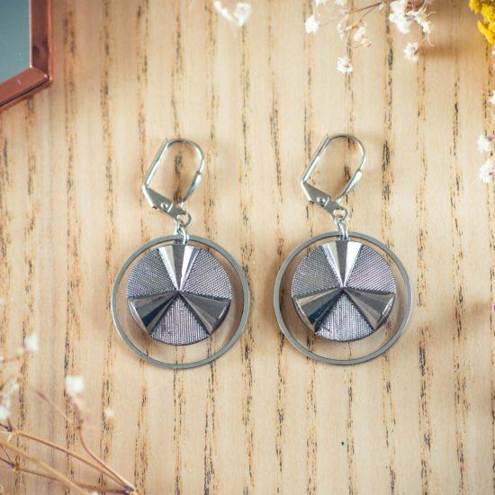 Assuna - Boucles d'oreilles grandes dormeuses cercles Angèle argent inspiration vintage