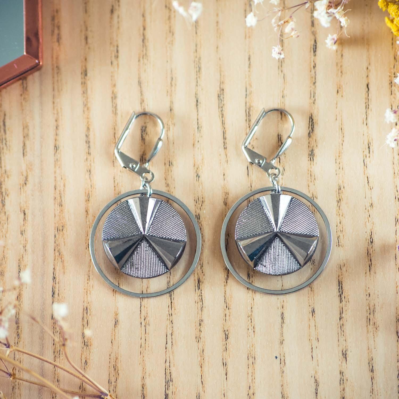 Assuna – Boucles d'oreilles grandes dormeuses cercles Angèle argent inspiration vintage