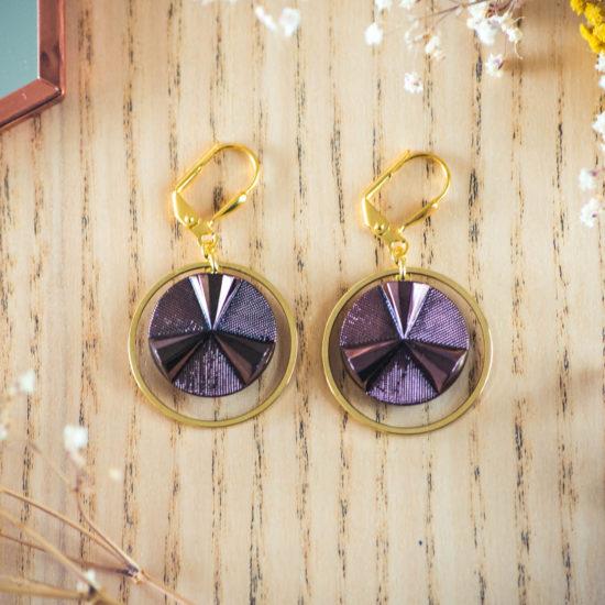 Assuna - Boucles d'oreilles grandes dormeuses cercles Angèle bronze inspiration vintage