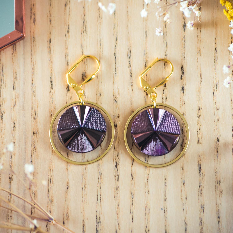 Assuna – Boucles d'oreilles grandes dormeuses cercles Angèle bronze inspiration vintage