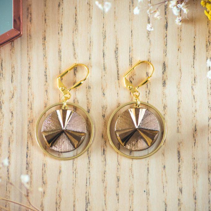 Assuna - Boucles d'oreilles grandes dormeuses cercles Angèle or inspiration vintage