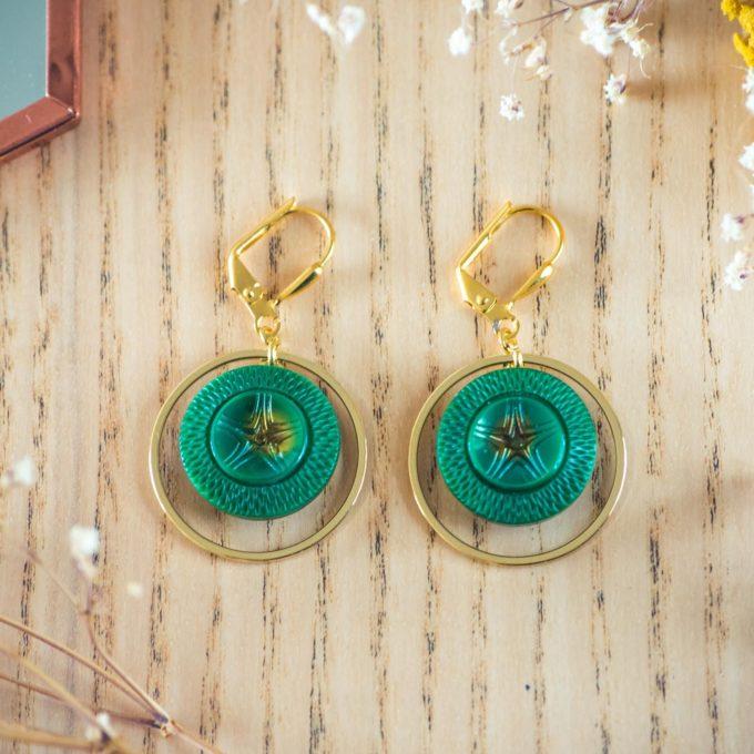 Assuna - Boucles d'oreilles grandes dormeuses cercles Arielle inspiration vintage