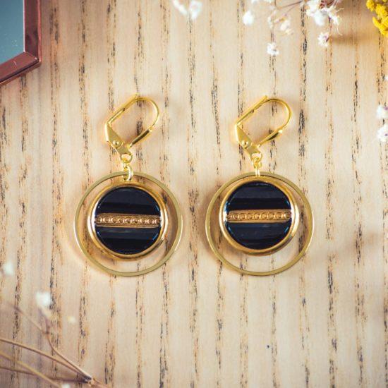 Assuna - Boucles d'oreilles tendance grandes dormeuses cercles Constance or inspiration vintage
