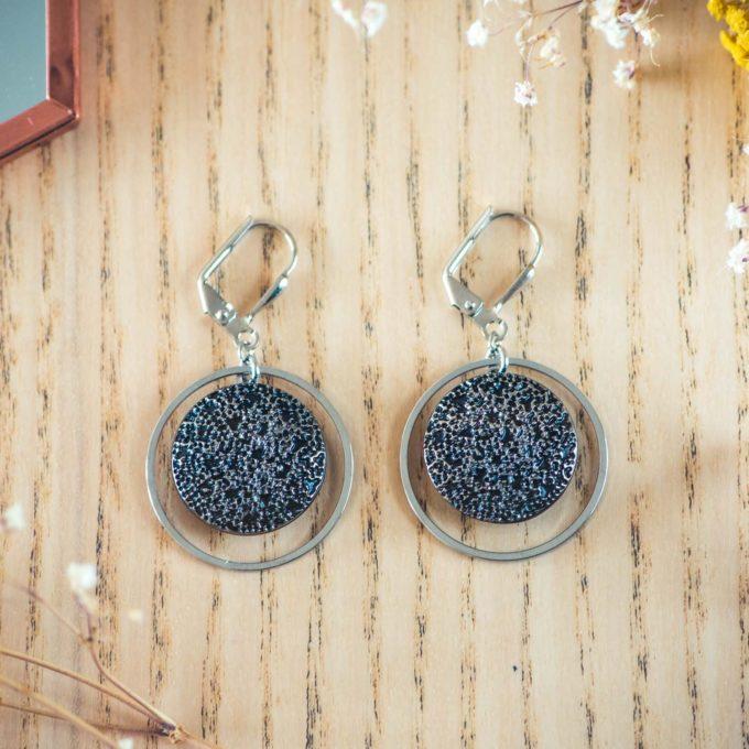 Assuna - Boucles d'oreilles tendance grandes dormeuses cercles Esmée argent inspiration vintage