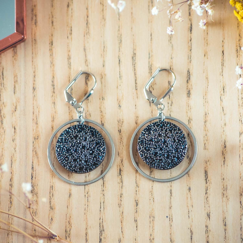 Assuna – Boucles d'oreilles tendance grandes dormeuses cercles Esmée argent inspiration vintage
