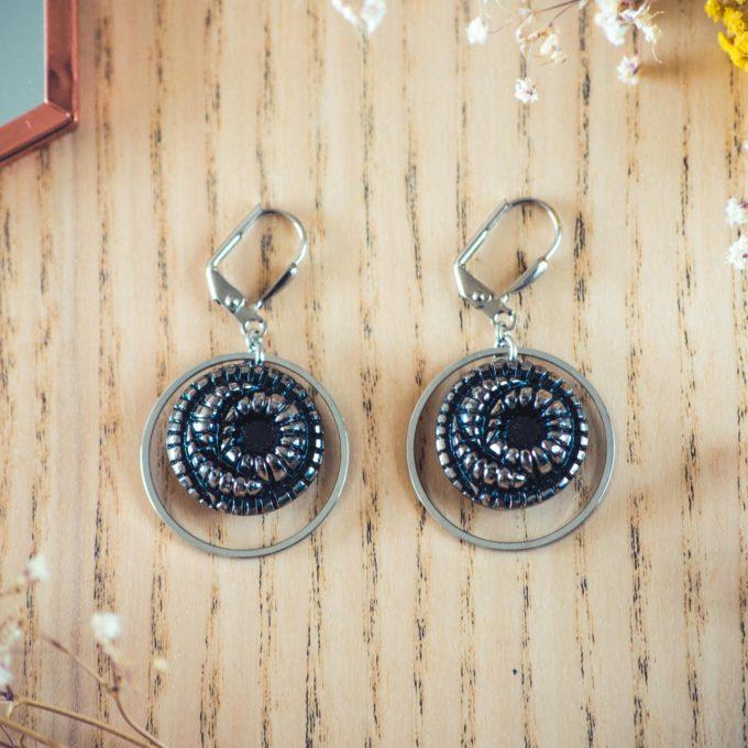 Assuna - Boucles d'oreilles tendance grandes dormeuses cercles Faustine argent inspiration vintage